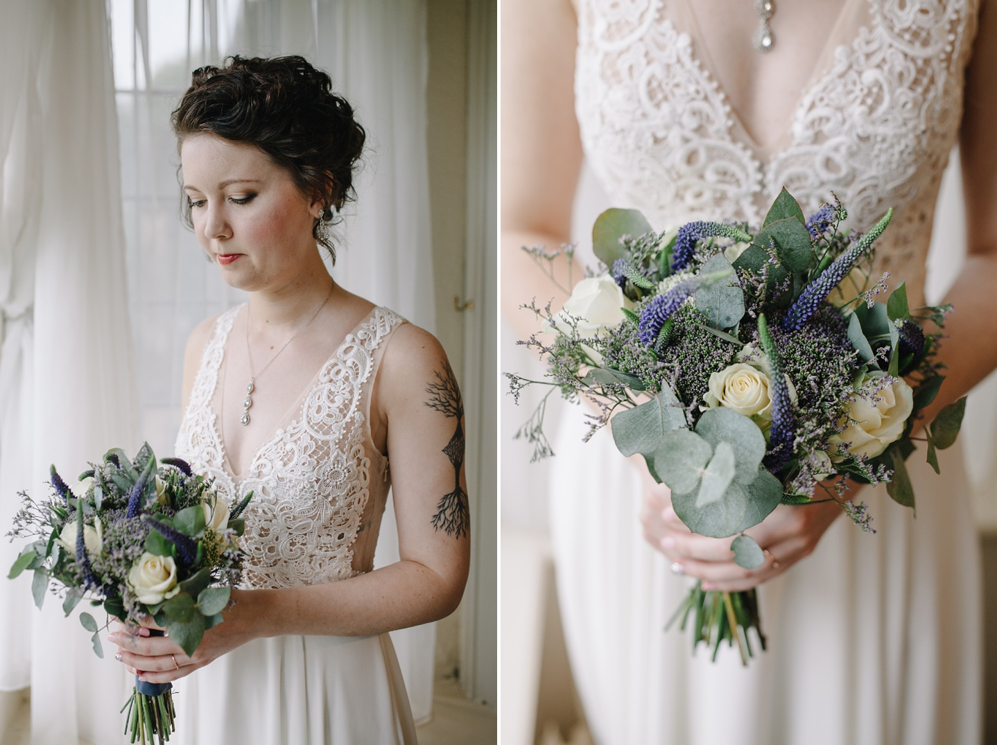 portrait of bride and close up of her bouquet at Whirlowbrook Hall