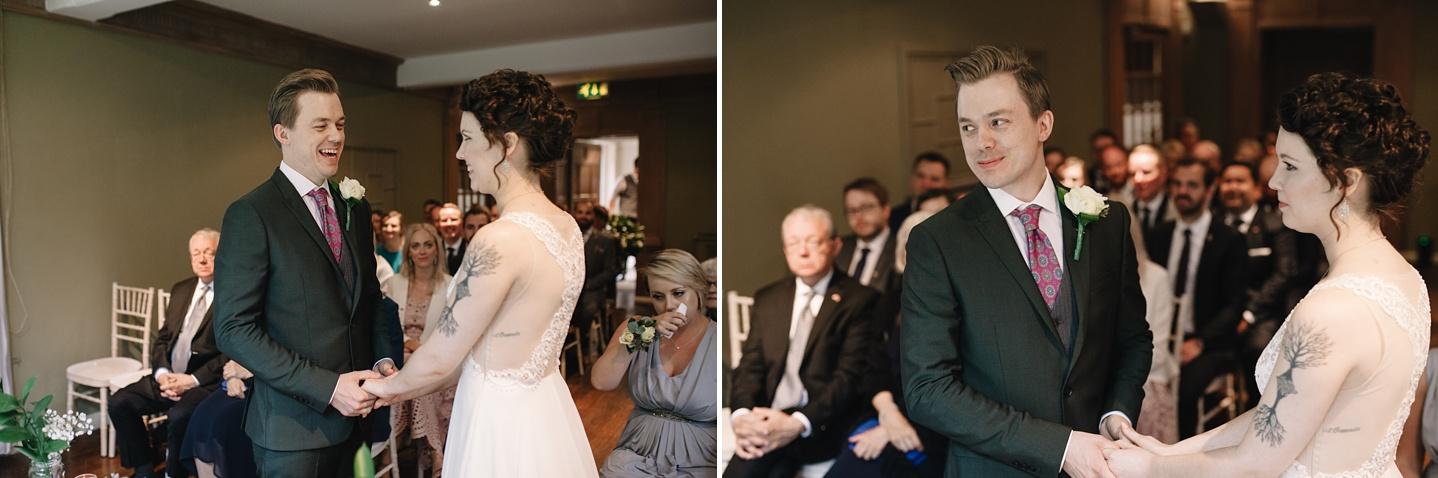 wedding ceremony at Whirlowbrook Hall