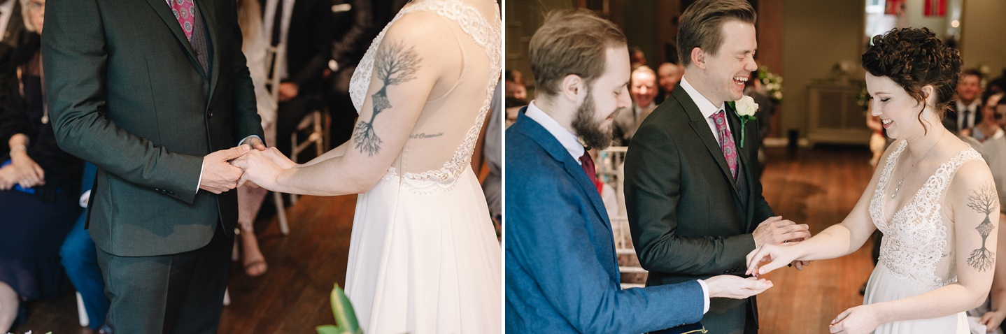 close up of bride and groom exchanging wedding rings