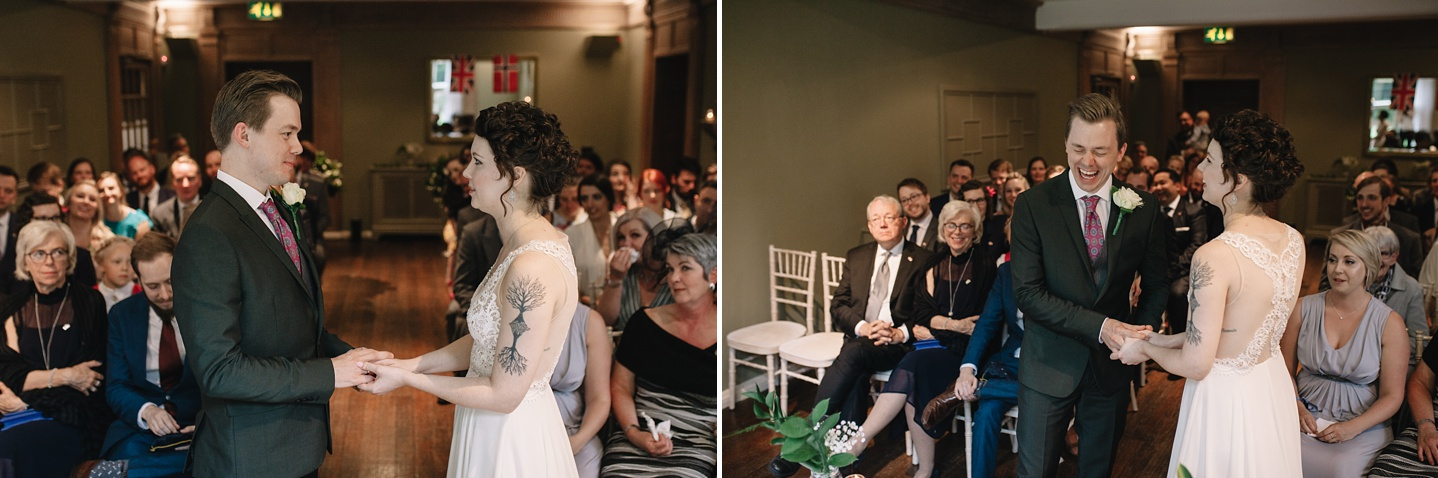 """bride and groom laughing after saying """"I do"""" at Whirlowbrook Hall wedding"""