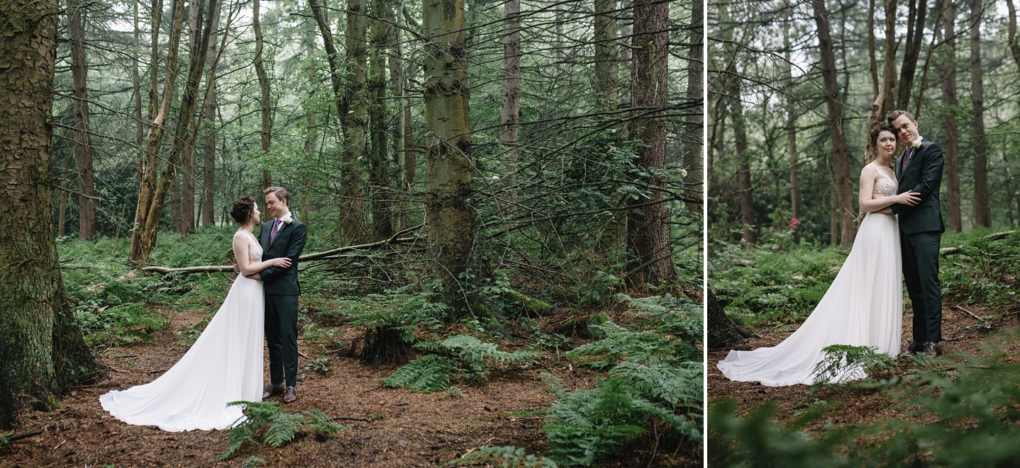 bride and groom stood in the woods at Whirlowbrook Hall