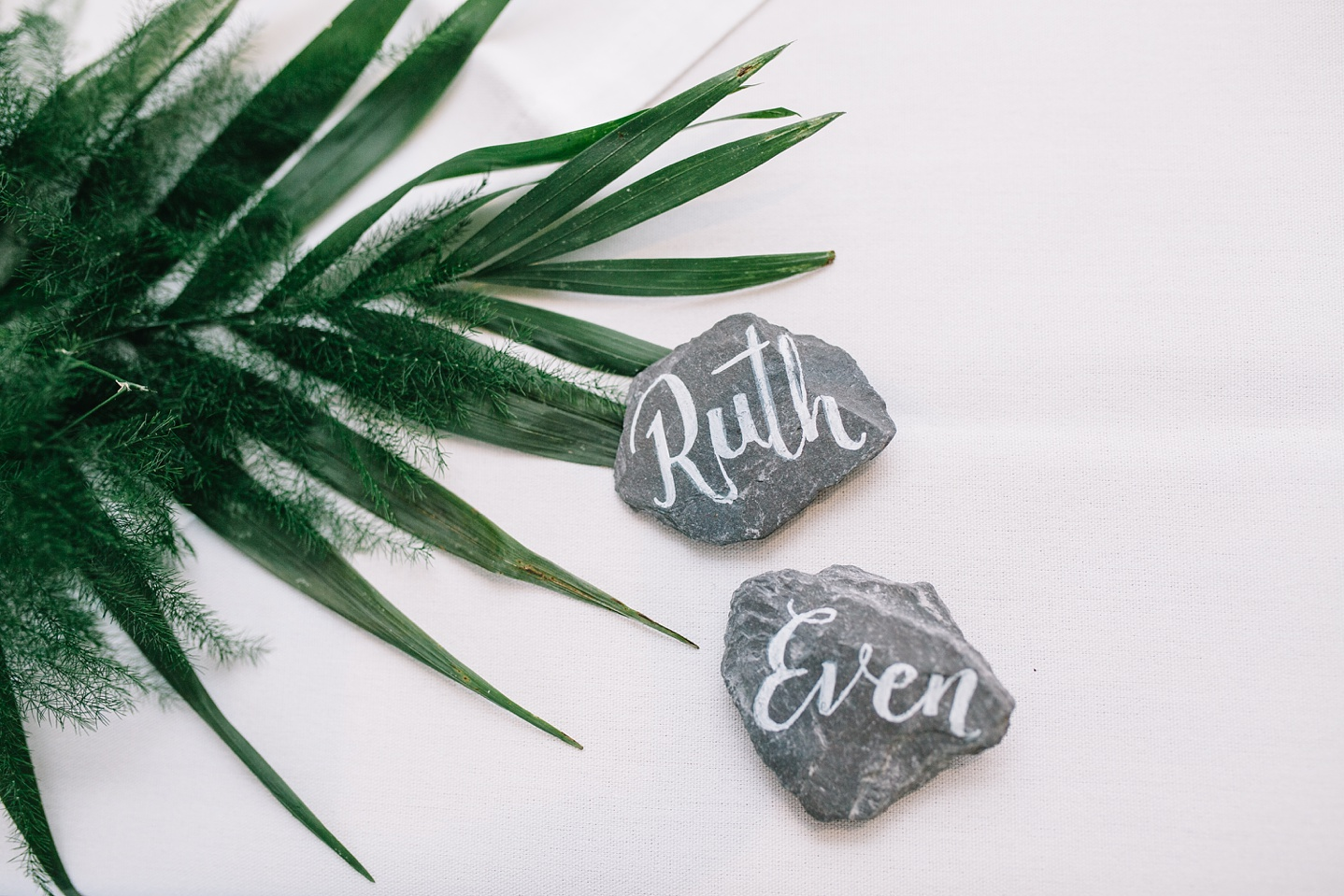 close up of slate name tags at Whirlowbrook Hall