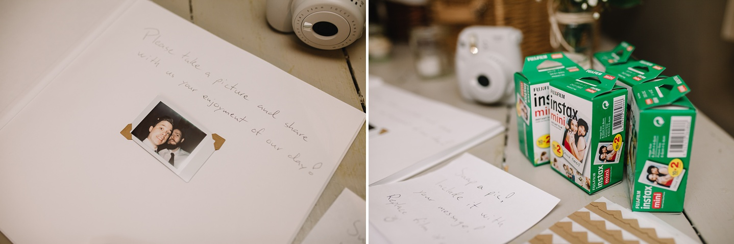close up of poleroid guest book