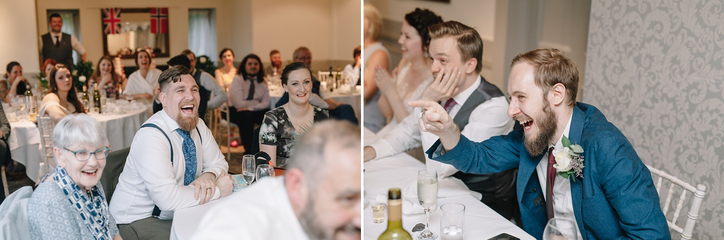 guests and best man laughing at speeches