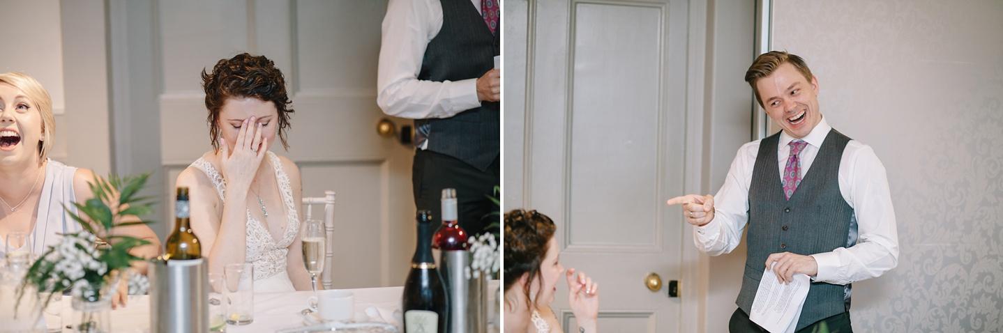 bride with head in hands embarrassed during grooms speech