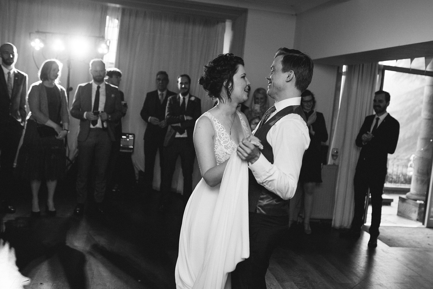 black and white photo of bride and groom during their first dance at Whirlowbrook hall