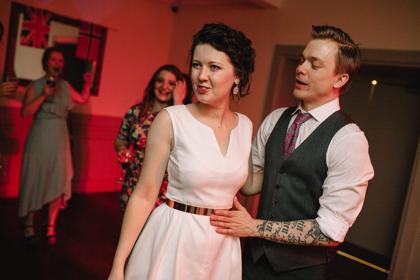 bride and groom hugging and dancing at Whirlowbrook Hall wedding