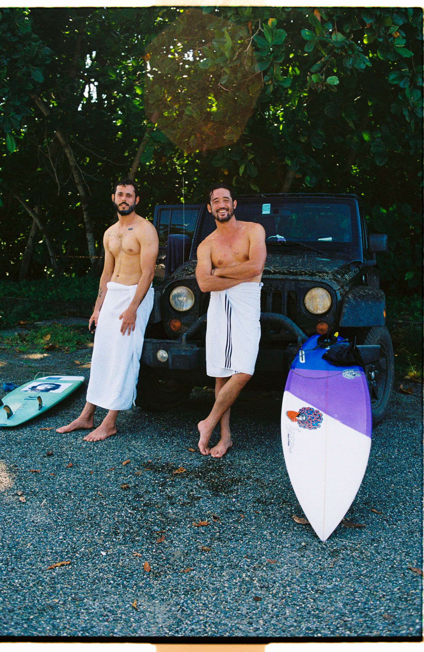 Ari Taymor (left) and Shane Won Murphy (right) after surfing in Mexico.
