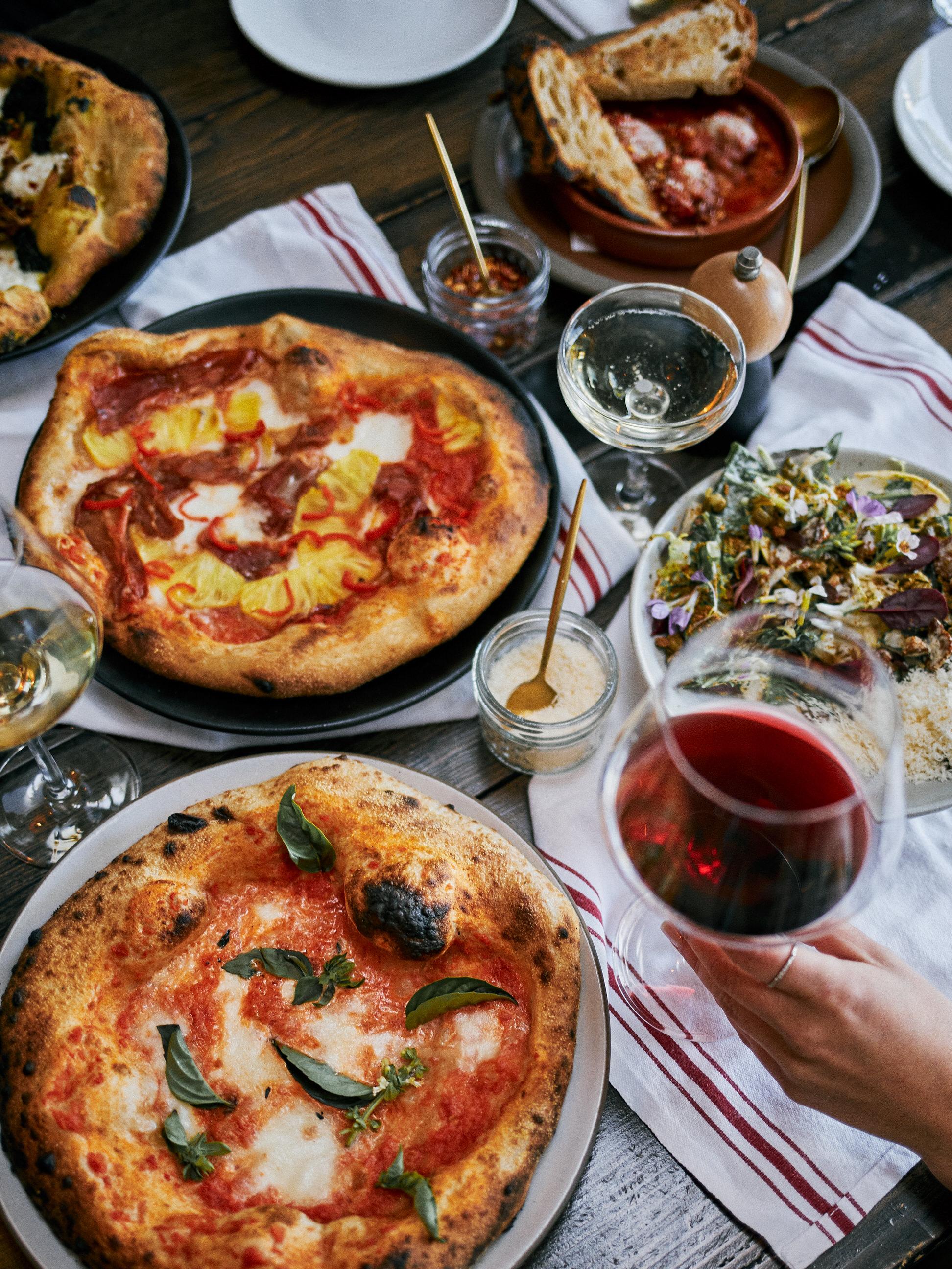 Hawaiian Pineapple Pizza and Red Wine