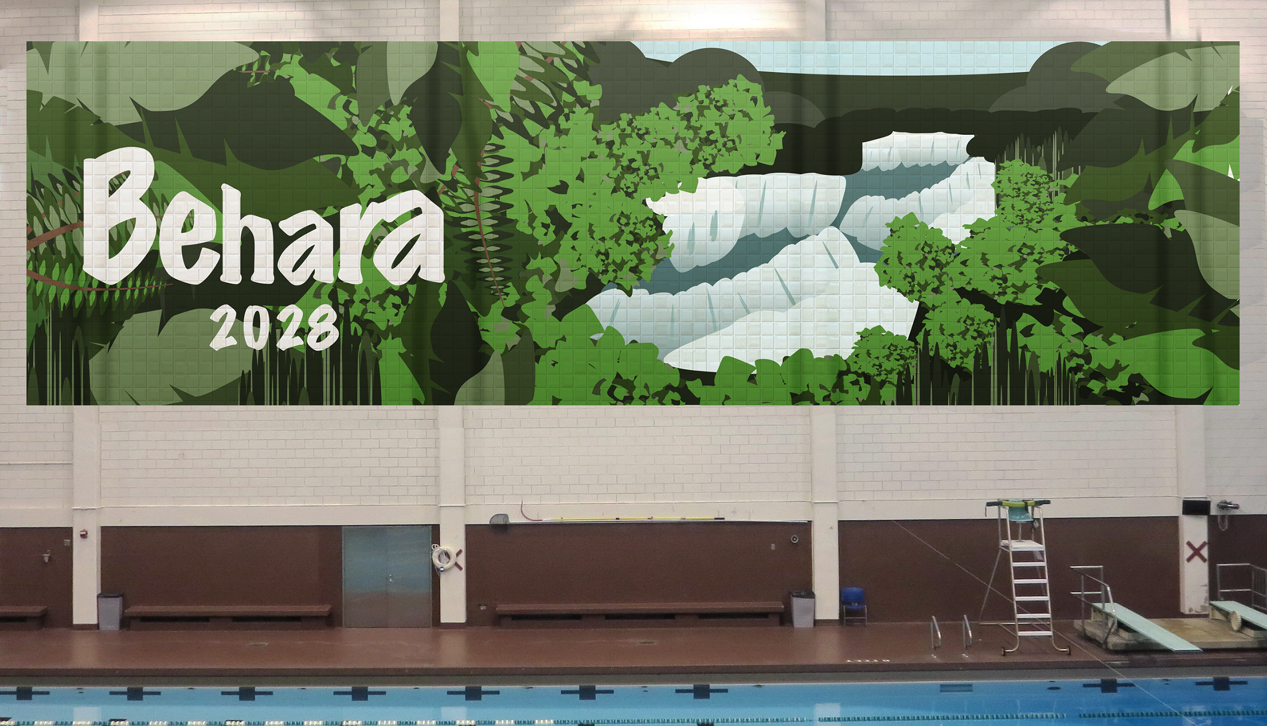 Behara wall mural - designed using Adobe Illustrator and Photoshop