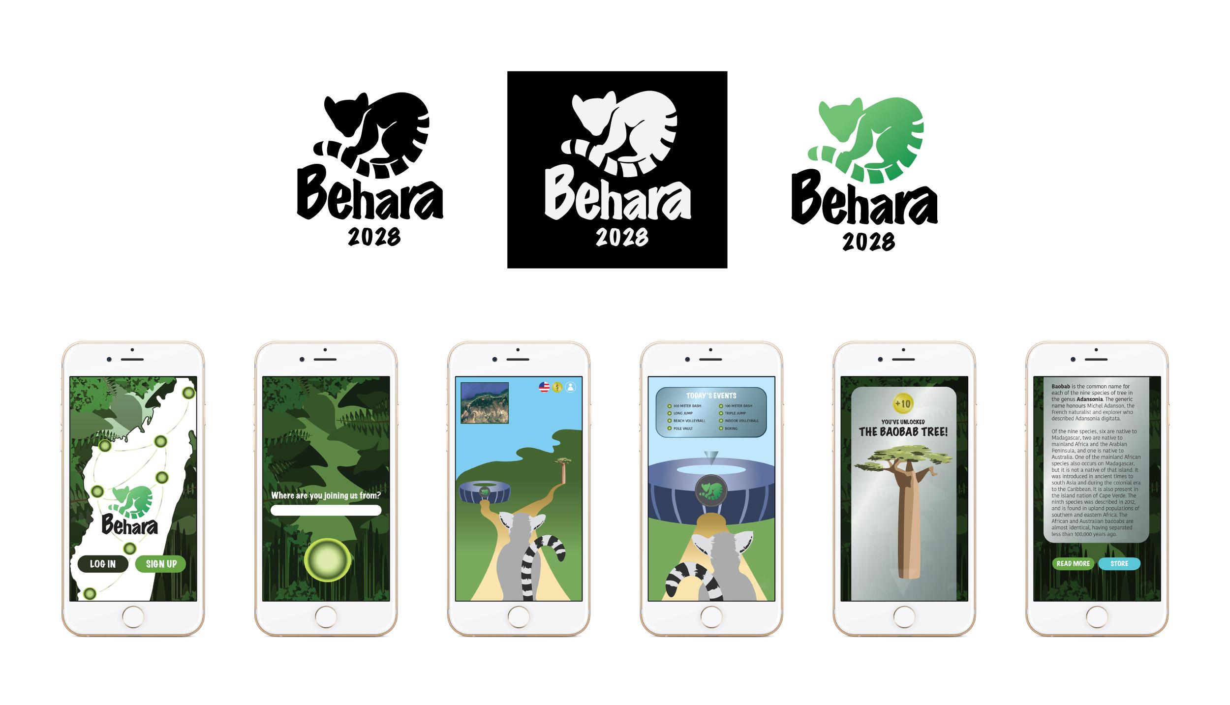 Behara logos and phone app - logo and app illustrations designed using Adobe Illustrator and Photoshop