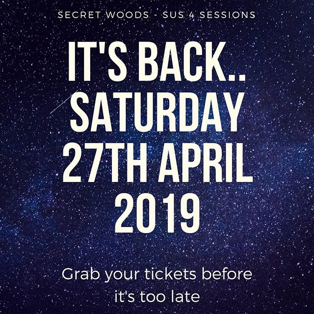 The first secret woods gig is back in just 11 days.  Join us to start the party  Visit www.sus4sessions.com to get your tickets