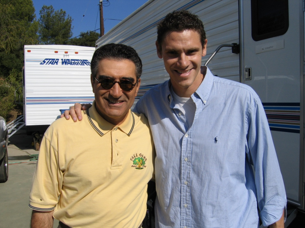 Brad and Eugene Levy on the BAND CAMP set.