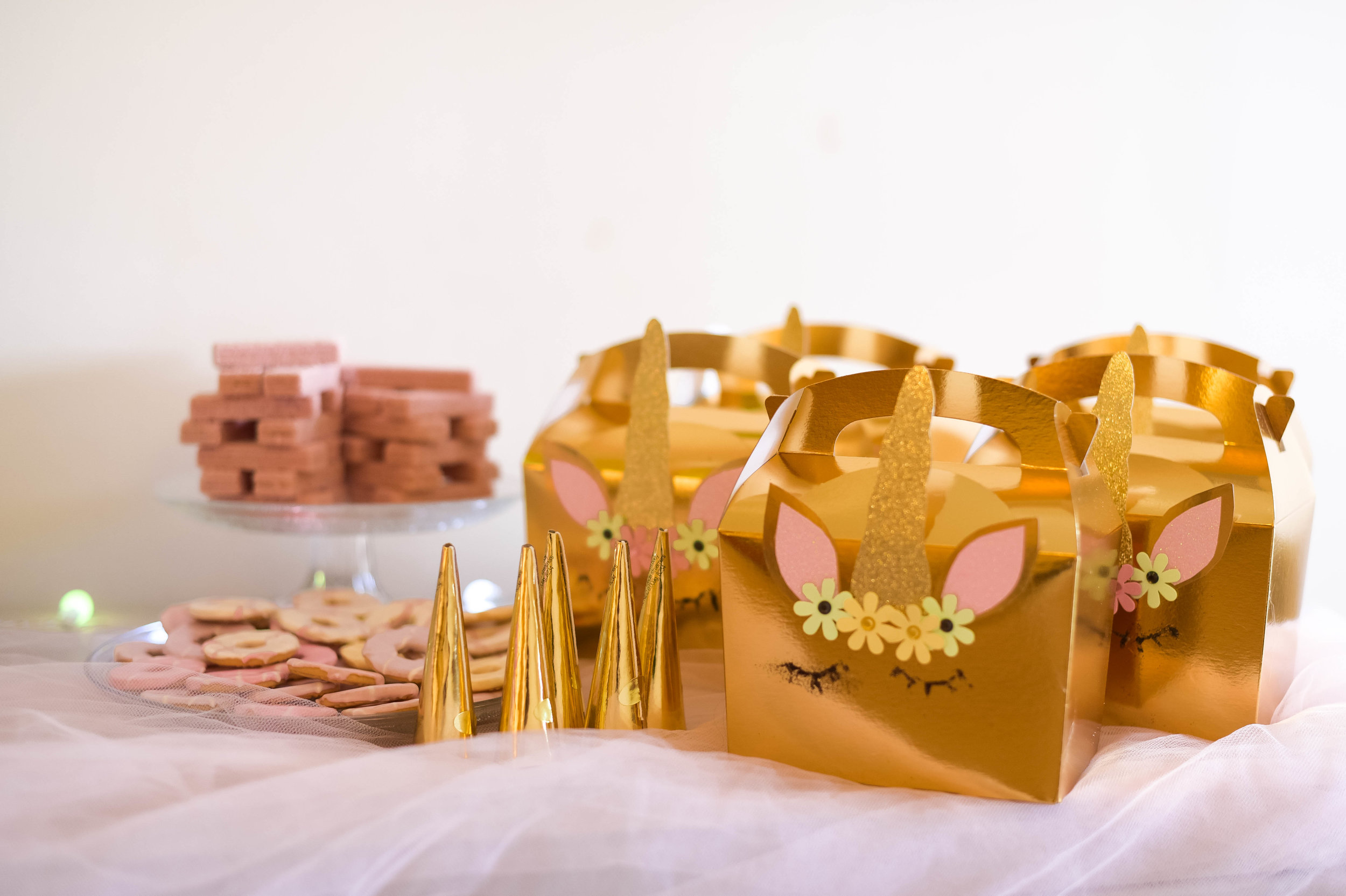 Gold Favor Boxes and treats