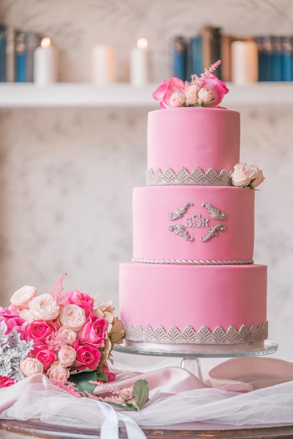 Luxury three tier wedding Cake and Bridal Bouquet