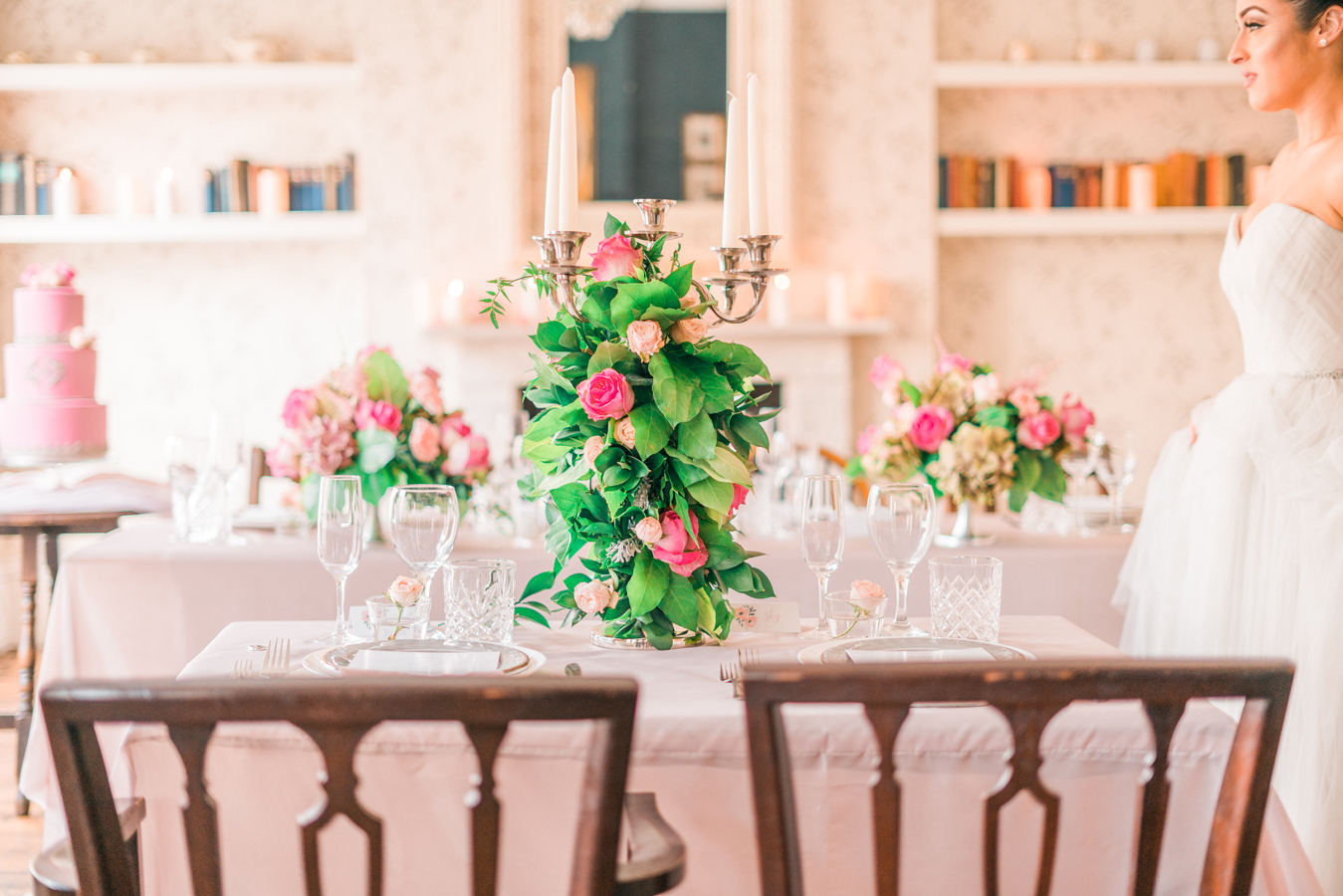 Beautiful wedding table setting and Candelabra