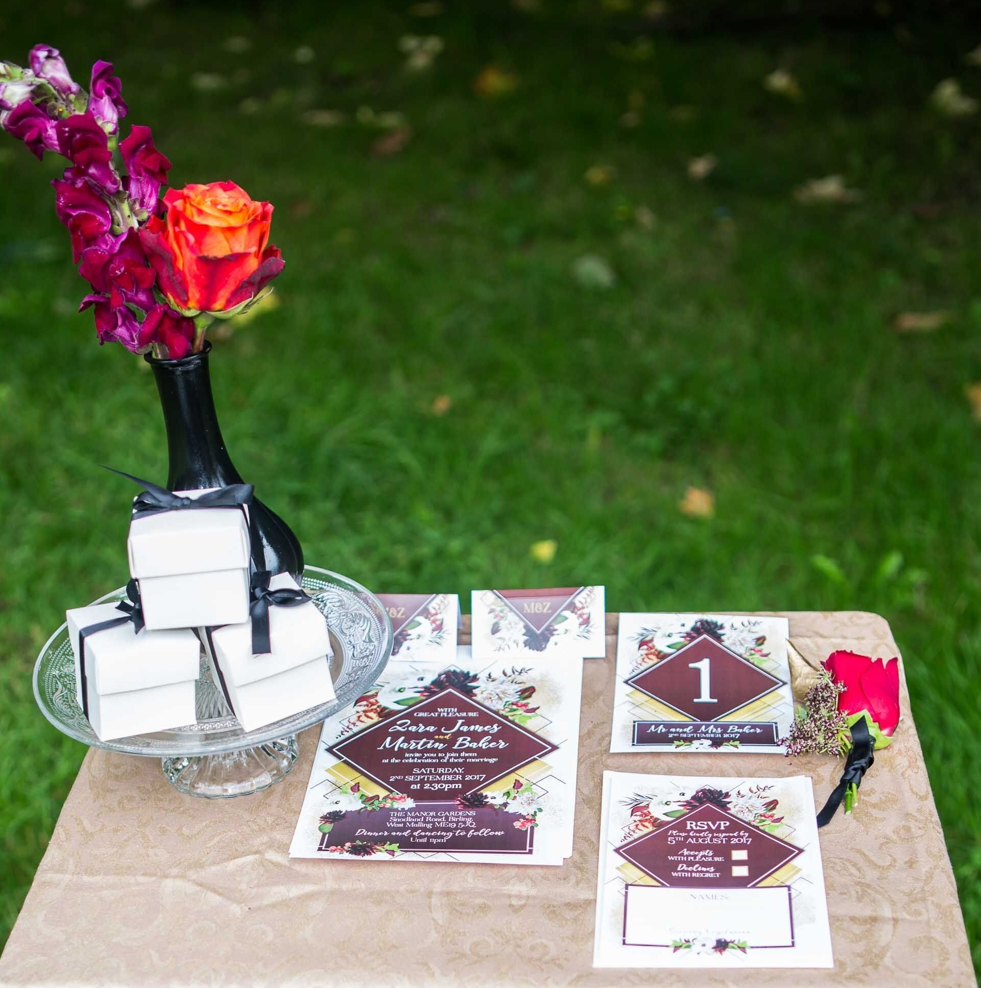 Wedding guest favors styled with invitation suite