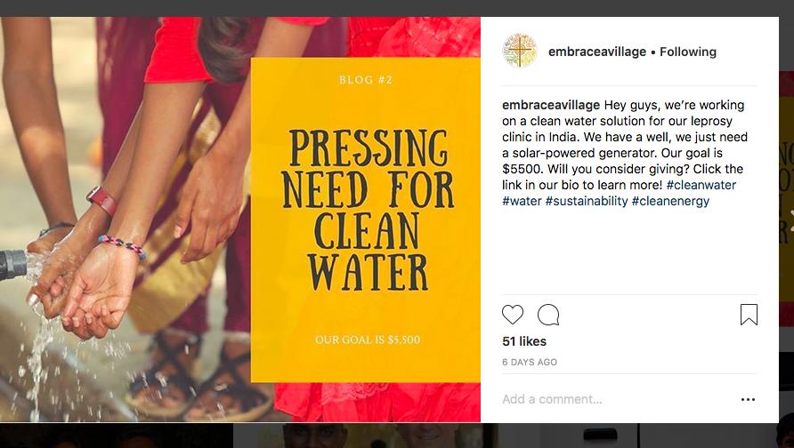 Clean Water India social media post