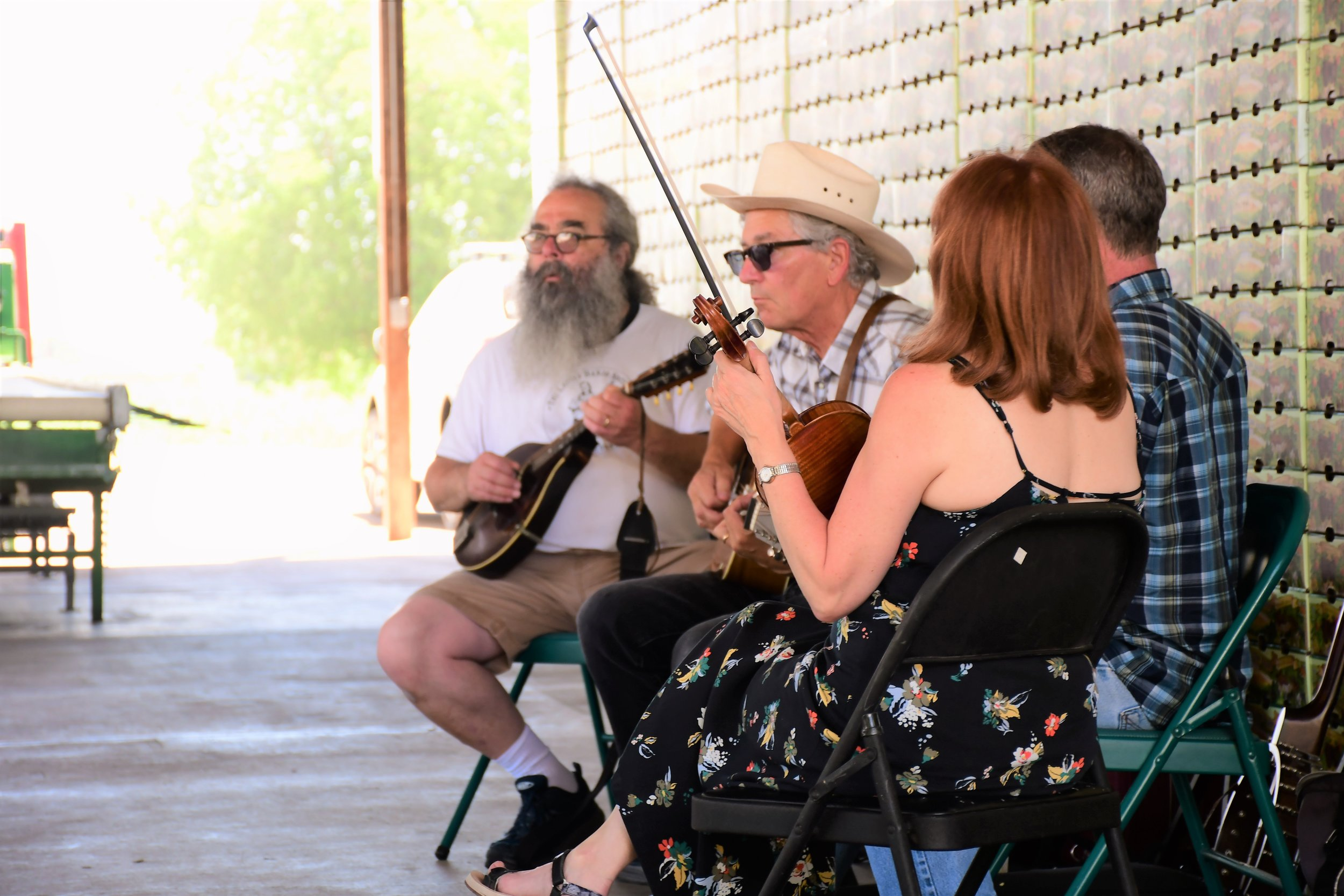 Bluegrass tunes in the packing shed