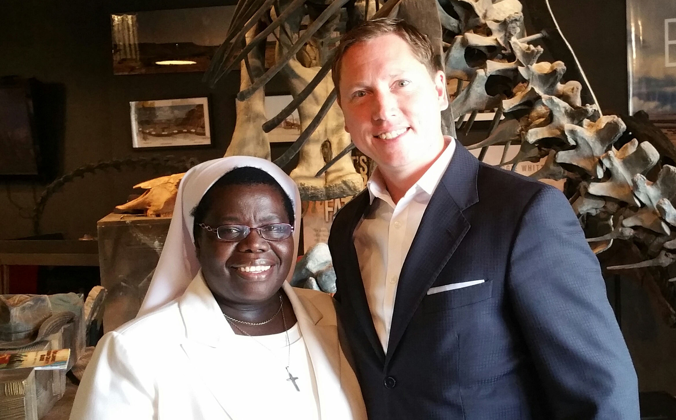 "Brian and Sister Rosemary Nyirumbe, subject of ""Sewing Hope."""