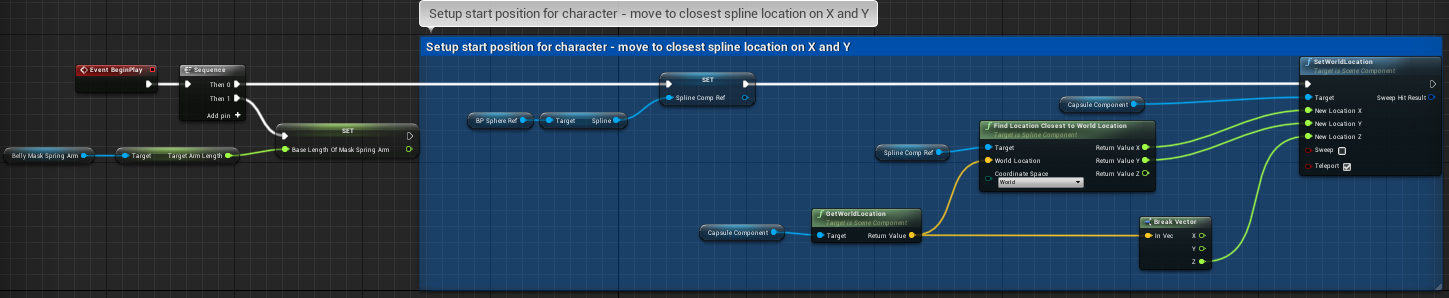 Fig 4   -  On BeginPlay move the player to the nearest point on the selected spline