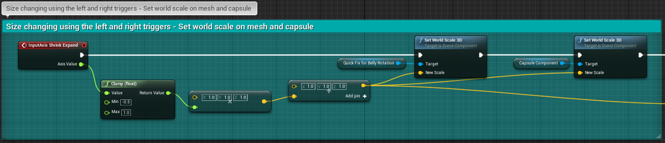 Fig 23 -  Shrink and expand input axis controlling the scale of the player