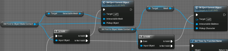 Fig 9 -  The blueprint that controls whether the player ejects the current absorbed object has been updated so that it works for skeletal meshes as well as static meshes.