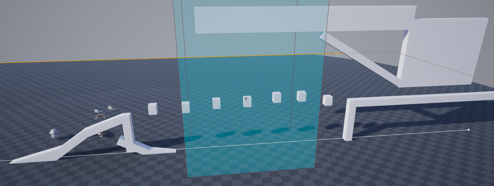 Fig 13 -  Obstacle that teaches the player about changing size with the waterfall volume