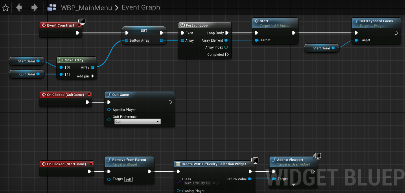Fig 18 -  Main menu blueprint setup with keyboard/gamepad support