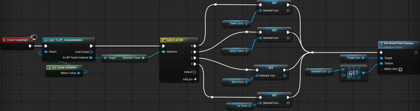 Fig 23 -  Changing the player icon system to set a single array and a single brush texture node