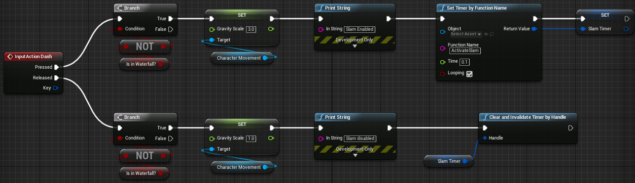 Fig 2 -  Dash input used to set the players gravity and activate the slam timer.