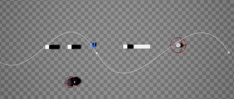Fig 2 -  Spline path used for the player and Boomshroom