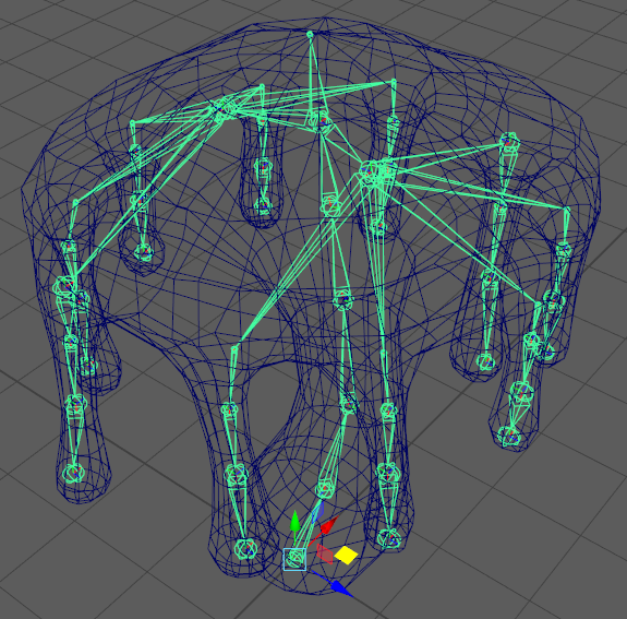 Fig 5 -  Completed rig with the tendrils