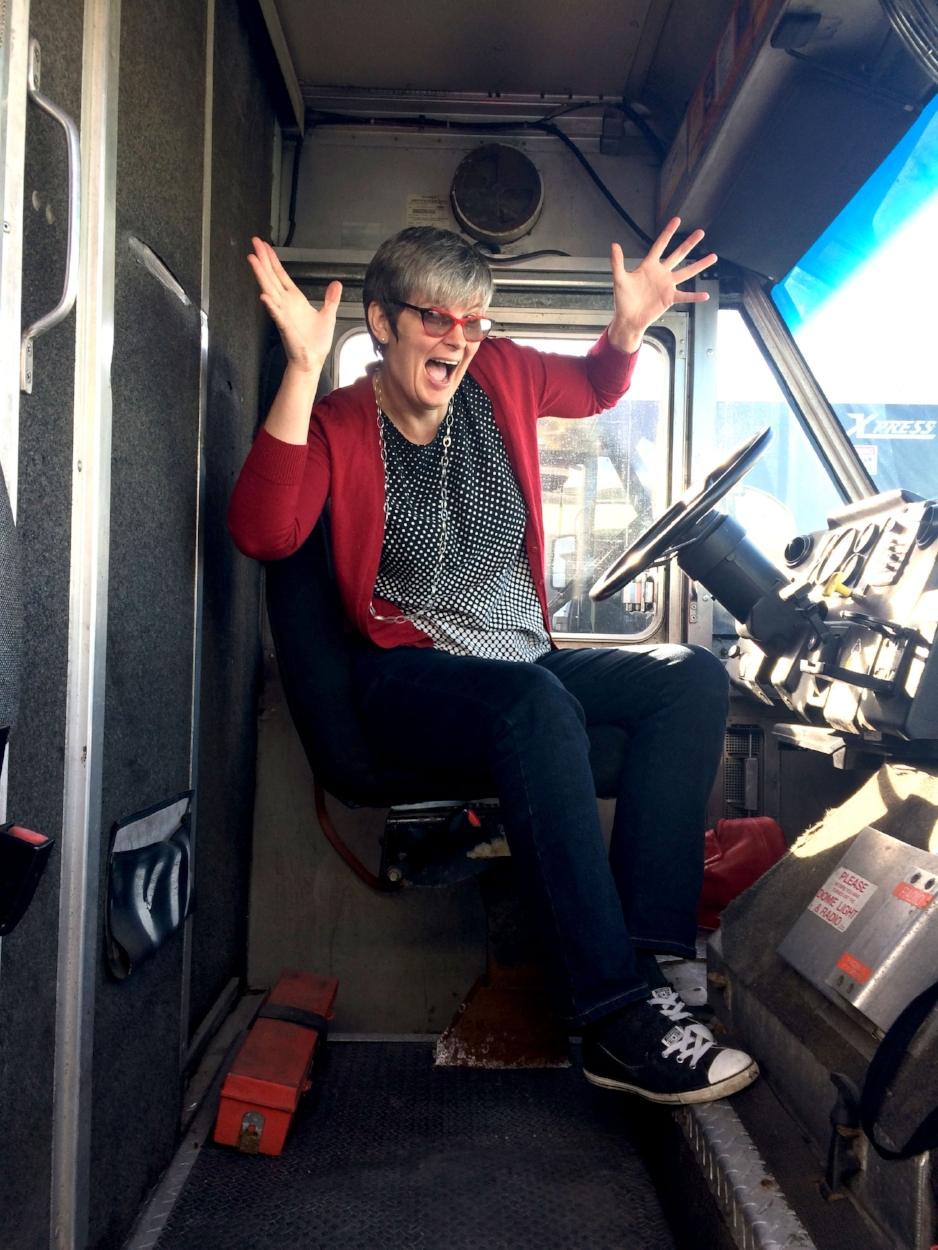 Janis Thiessen aboard the newly purchased food truck. Photo by Sarah Story.