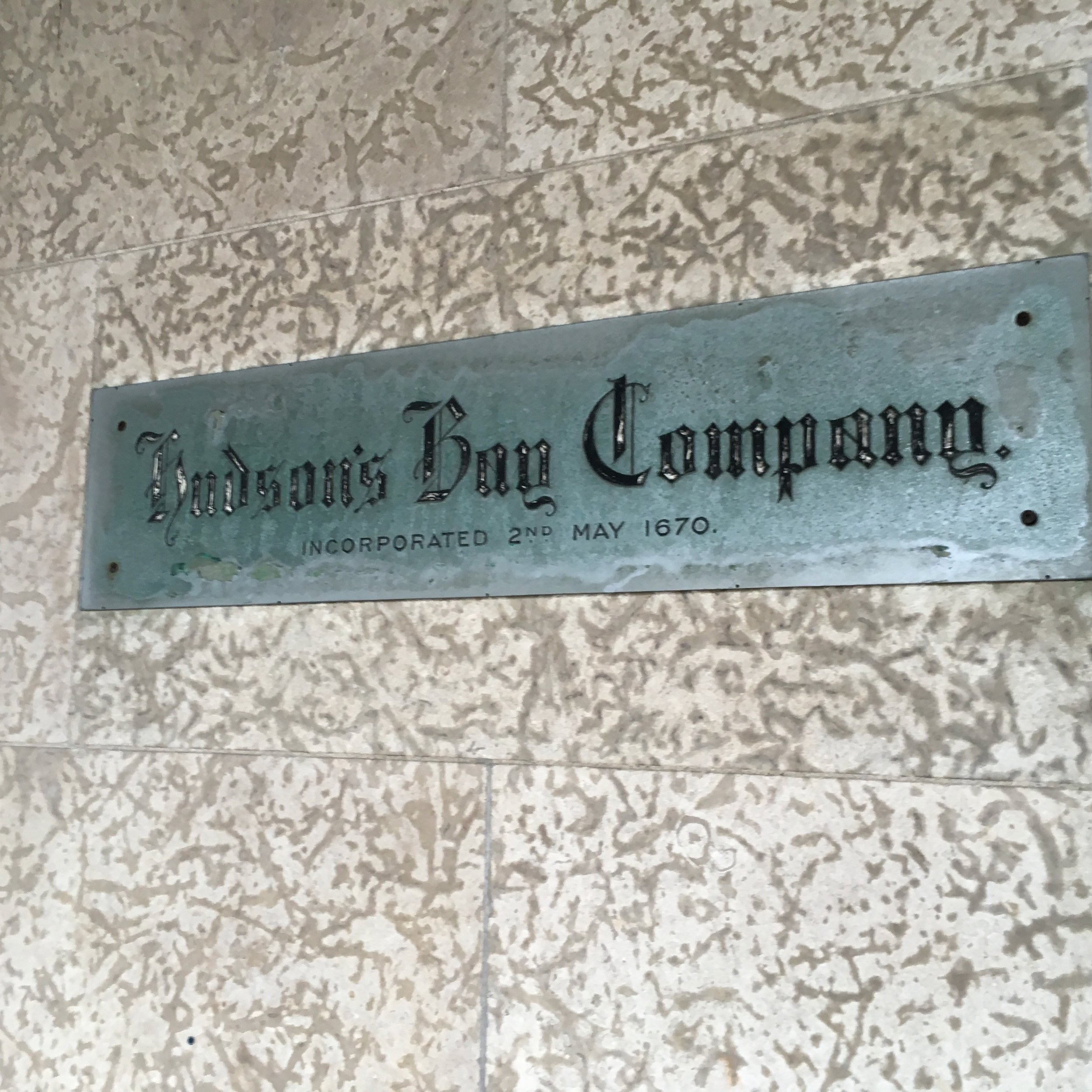 Hudson's Bay Company plaque on the downtown Winnipeg HBC store. Photo by Janis Thiessen.