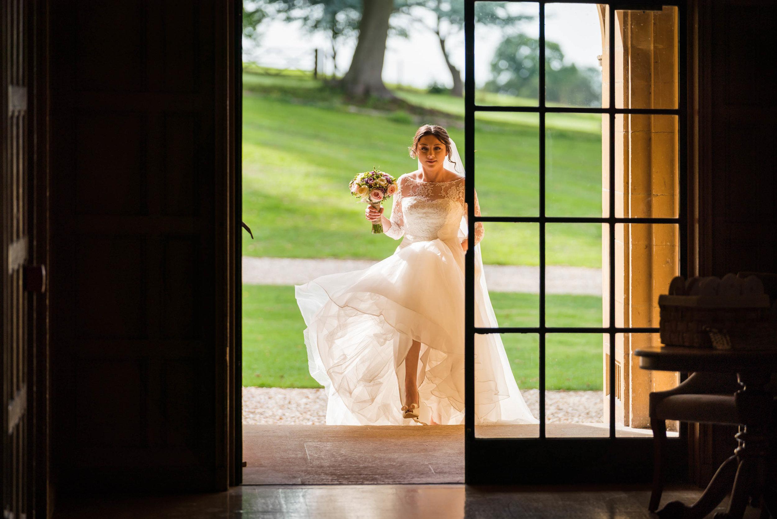 Somerset Wedding Photographer, Coombe Lodge Wedding Photography, Bride in evening sun