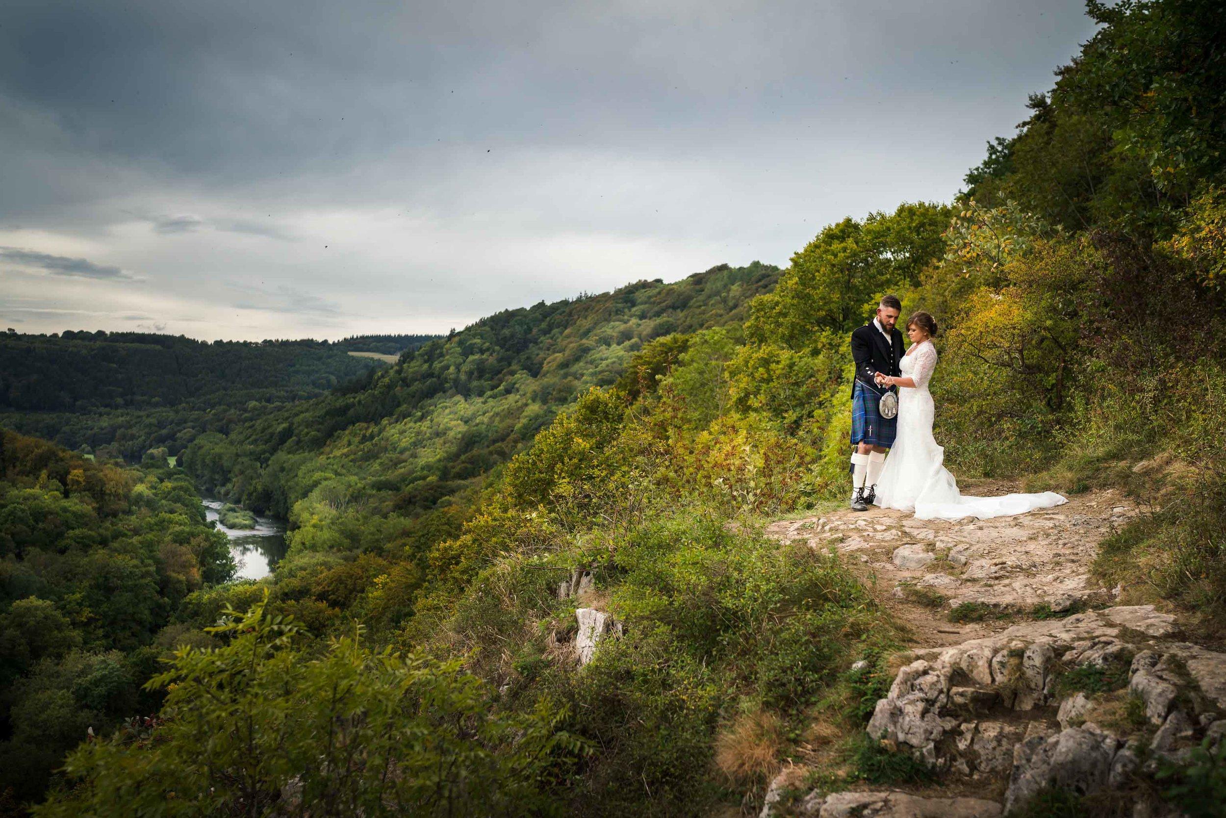 Herefordshire Wedding Photographer, Symonds Yat Wedding, Bride and Groom on Cliff