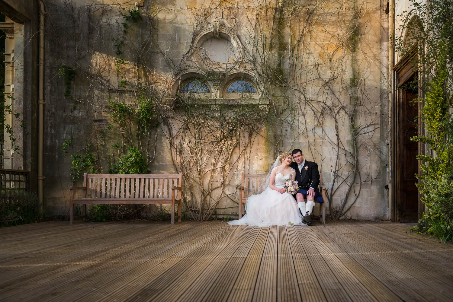 Orchardleigh Estate Wedding Photography, Somerset Wedding Photography, Walled Garden, Sunset, Perspective, Married Couple