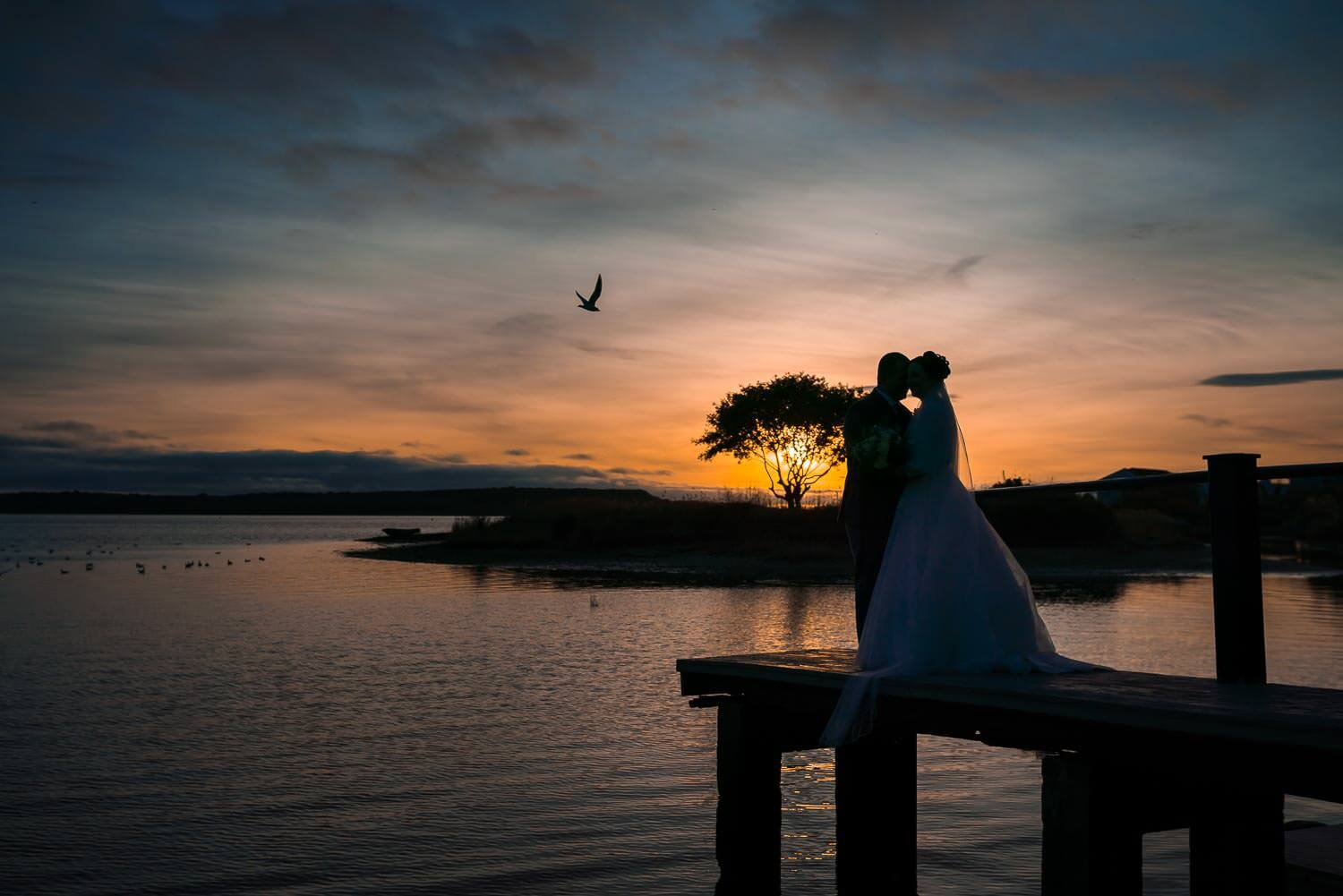 Christchurch Harbour Hotel, Poole, Dorset Wedding Photography, sunset, married couple