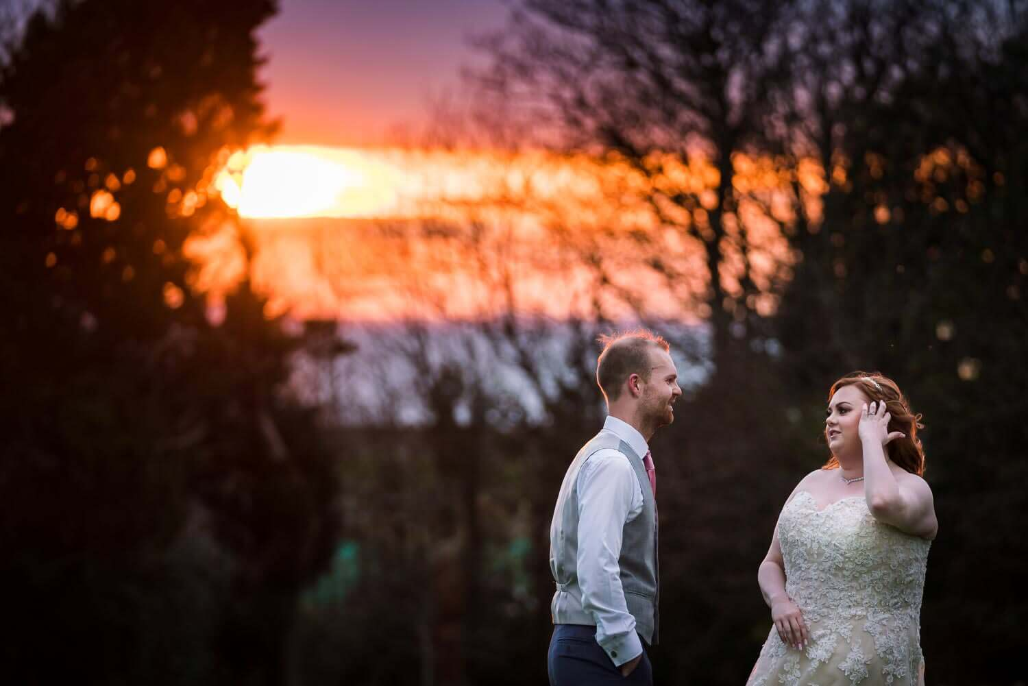Clevedon Hall, Somerset Wedding Photography, Sunset, married couple, Somerset Wedding Photographer