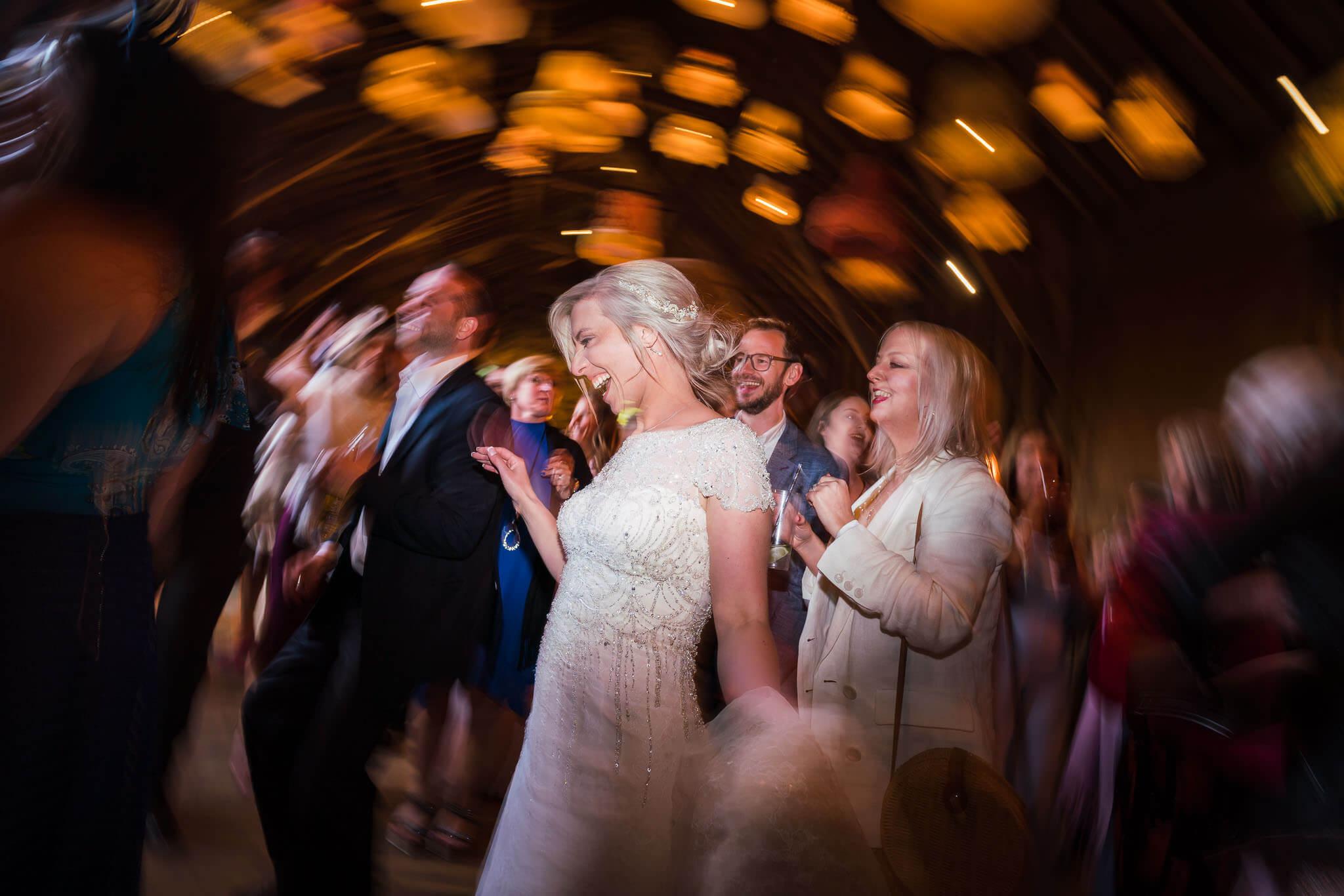 Wiltshire wedding photographer, Wick Bottom Barn Wedding Photography, Bride dancing