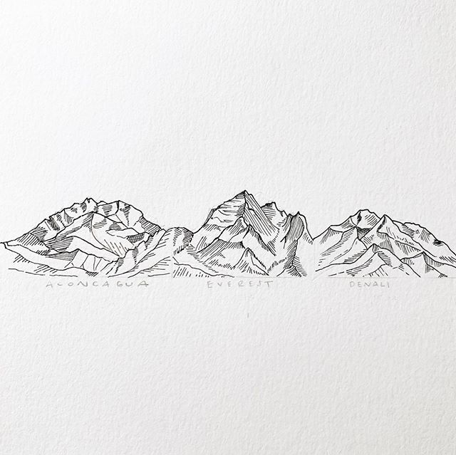 "Something a little different but whole heartedly me ✍🏼🏔 ""The Seven Summits"" illustration was tattoo commission for client who recently summited Kilimanjaro with her dad and they plan on summiting more #goals 🥾 I'm enjoying the simplicity of pen on paper process. #mallorymccamyart #wip #sevensummits #illustration #artist #mountains #tattoo #tattoodesign"