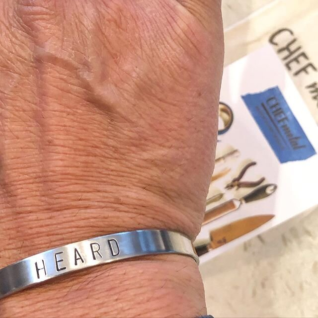 """Thank you @chefmetaljewelry for this 2 Meaning Bracelet: 1) HEARD is the American equivalent to, """"Oui Chef"""" in our kitchens. 2) HEARD is WE are listening to #blm We have to listen, absorb, understand then ACT. We have to be #antiracist for the sake of future generations, ENOUGH!  Just always #bekind and pls, wear the other shoe to try to understand. Don't sympathize, act, support Black businesses, go out of  your way! Kindness will prevail, it has to........"""