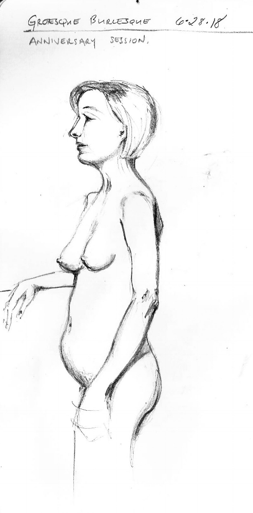 Figure drawing in pencil. From Grotesque Burlesque drawing session on June 28, 2018