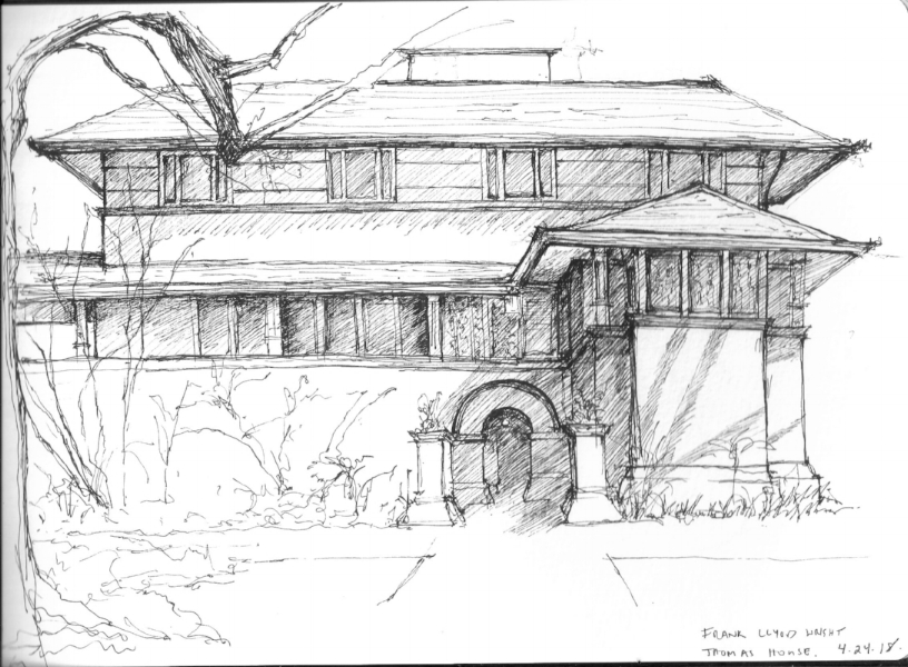 Sketch of Frank Llyod Wright's Thomas House during the Traditional Building Conference in Oak Park, IL on April 24, 2018
