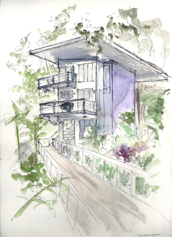 Watercolor/ink sketch of the Jungle Loft in Manuel Antonio, Costa Rica.