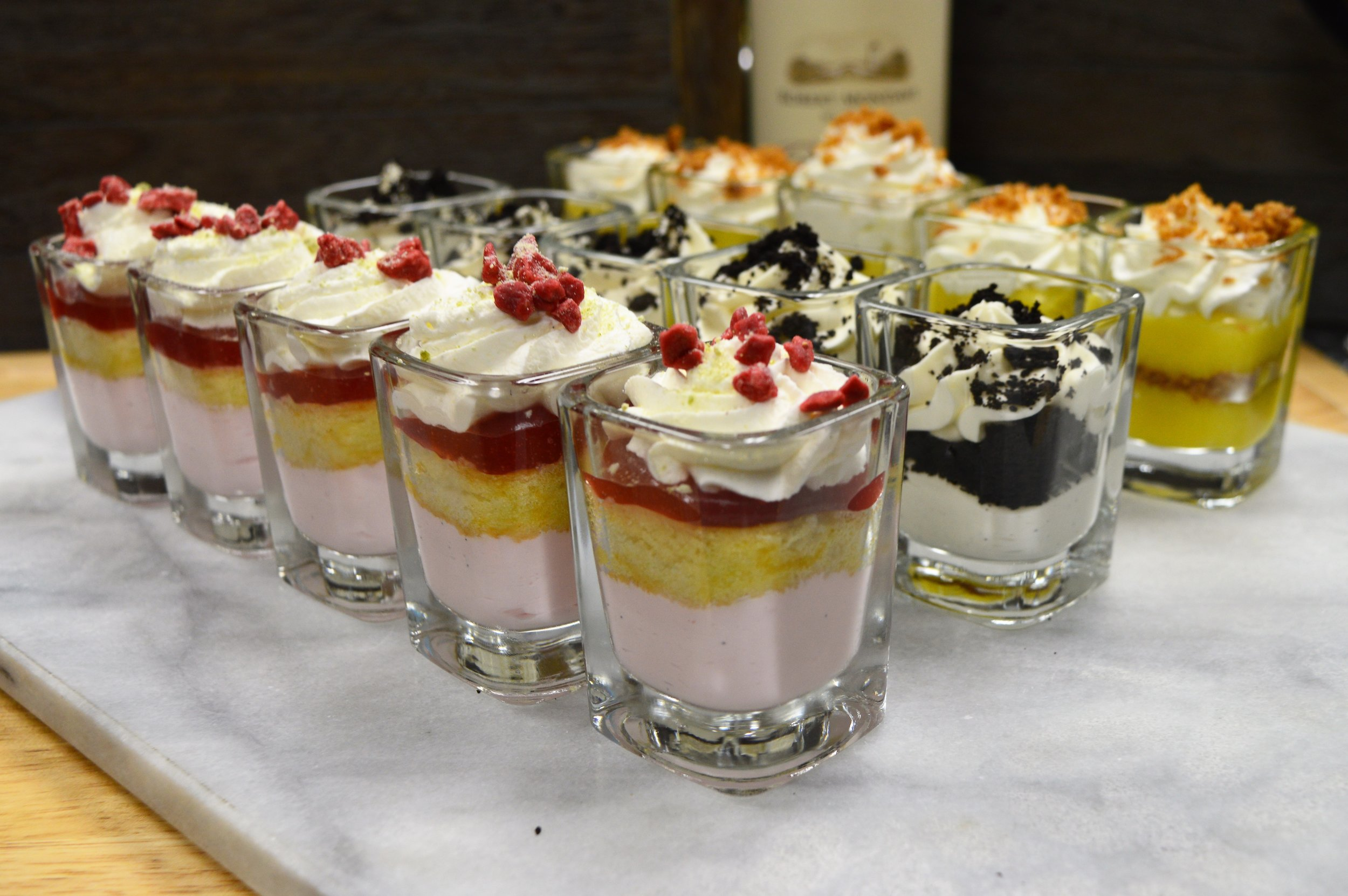 Shot Glass Desserts Strawberry Shortcake Cookies and Cream and Keylime Pie