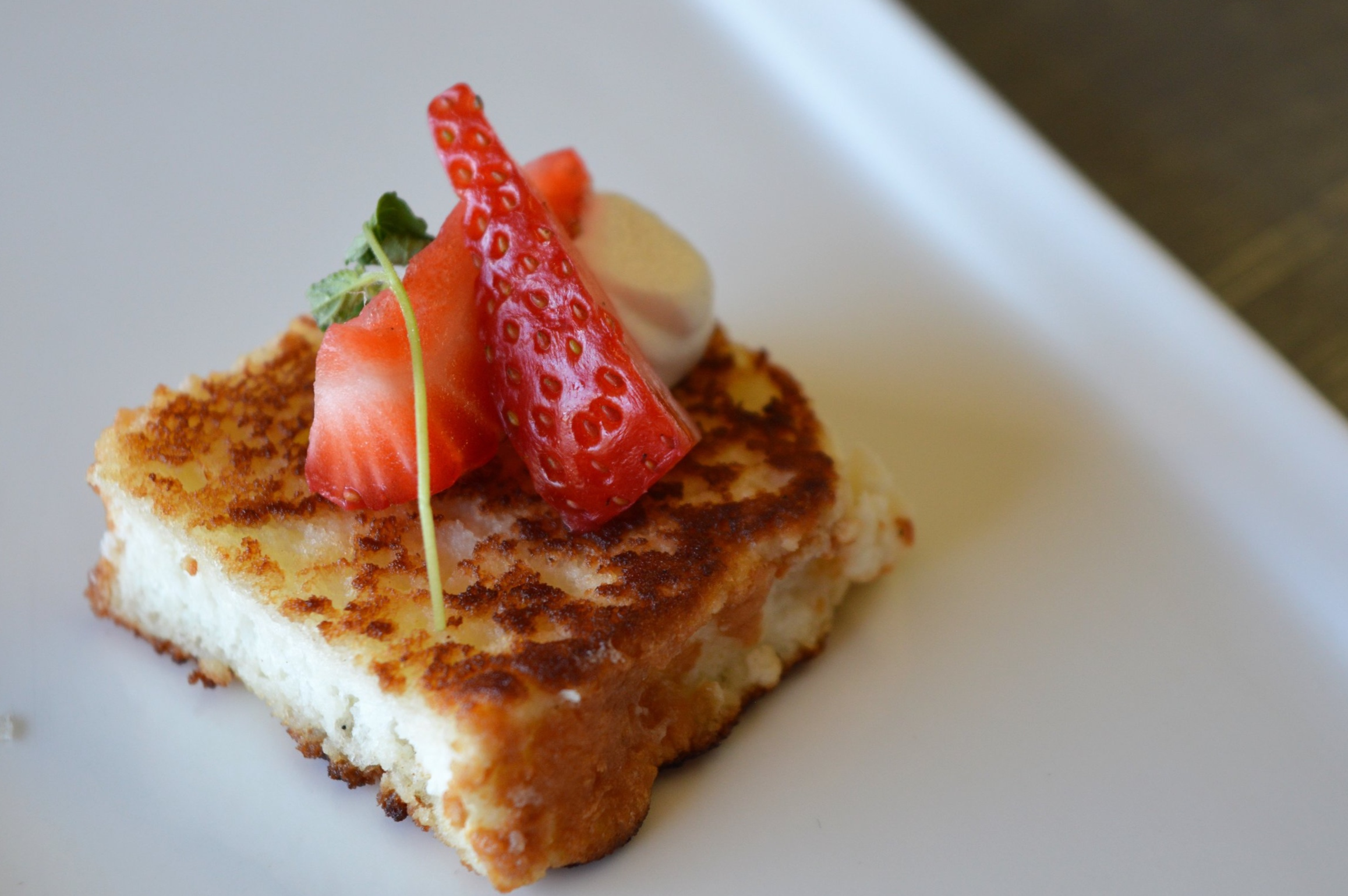 Seared Angel Cake with Strawberries and Kaffir Lime Cream
