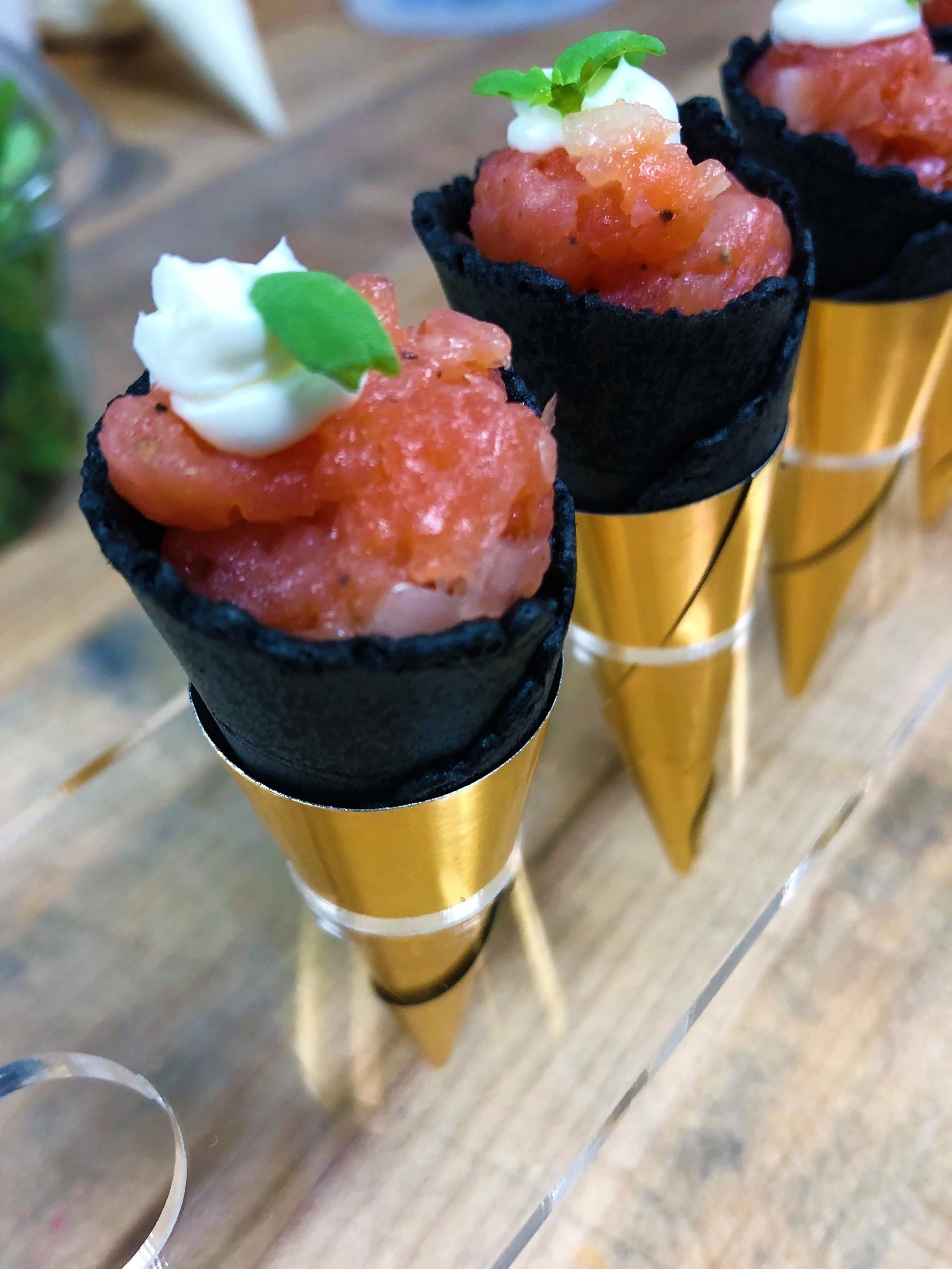 Salmon Tartare with Vodka Lemon Cream in a Savory Cone