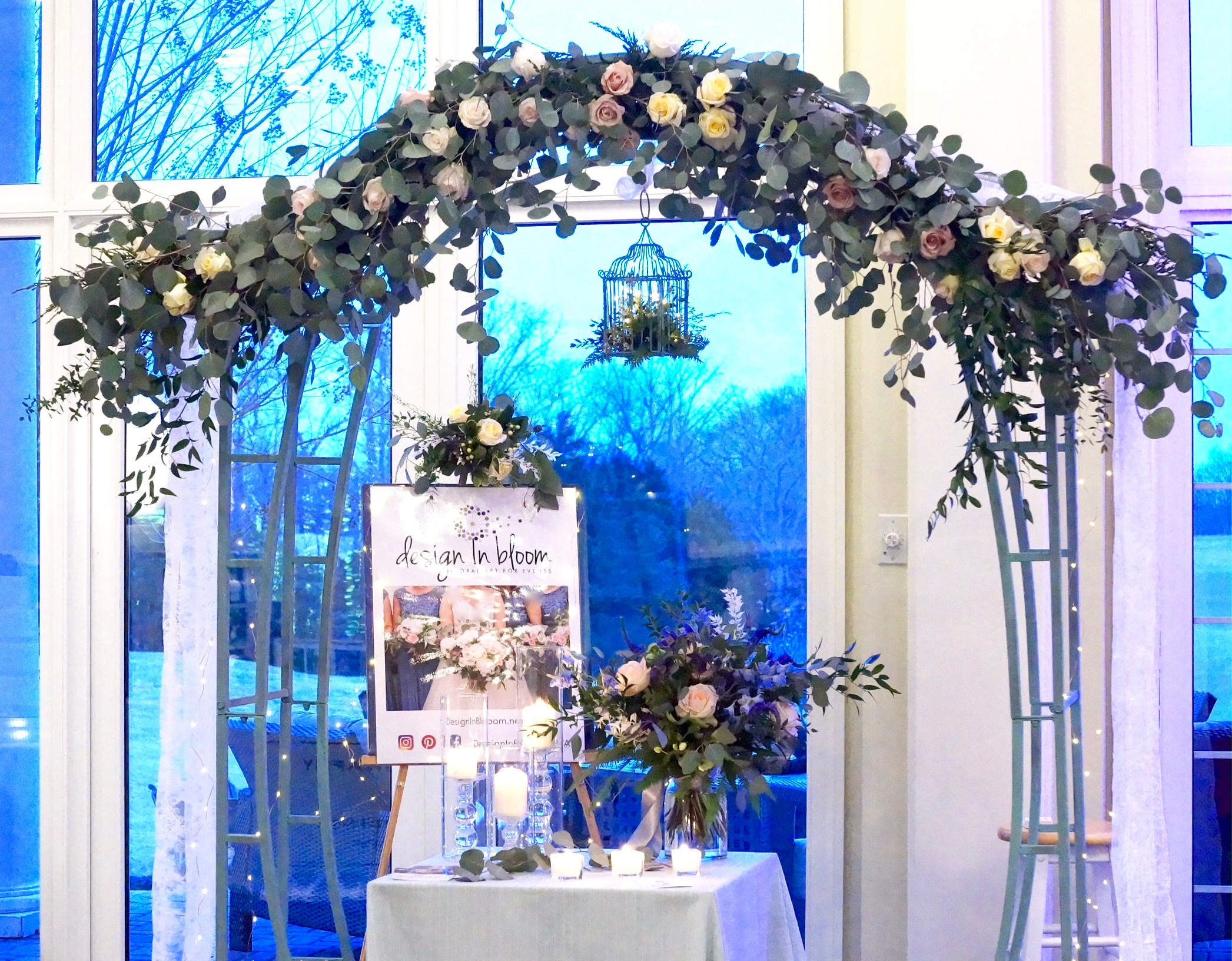 Our 'booth' display. Is a custom made garland something you'd like for your event? This one will go from arch to table!